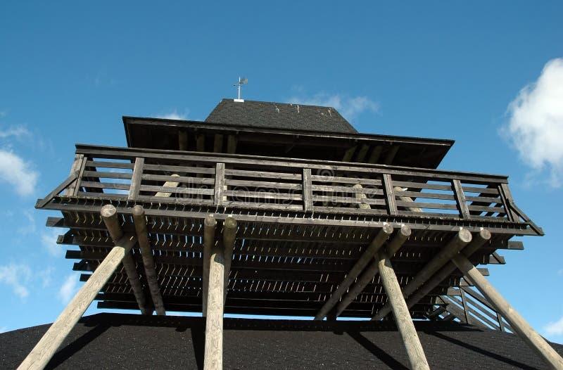 Bird watch tower. Wooden bird watch tower and blue sky stock photos