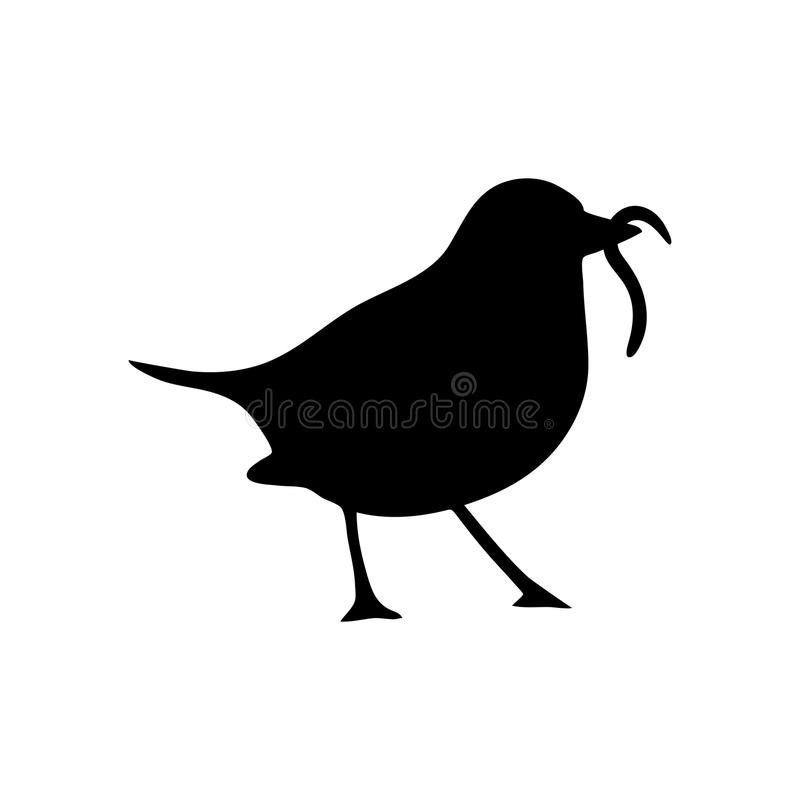 Bird and Worm Silhouette royalty free illustration