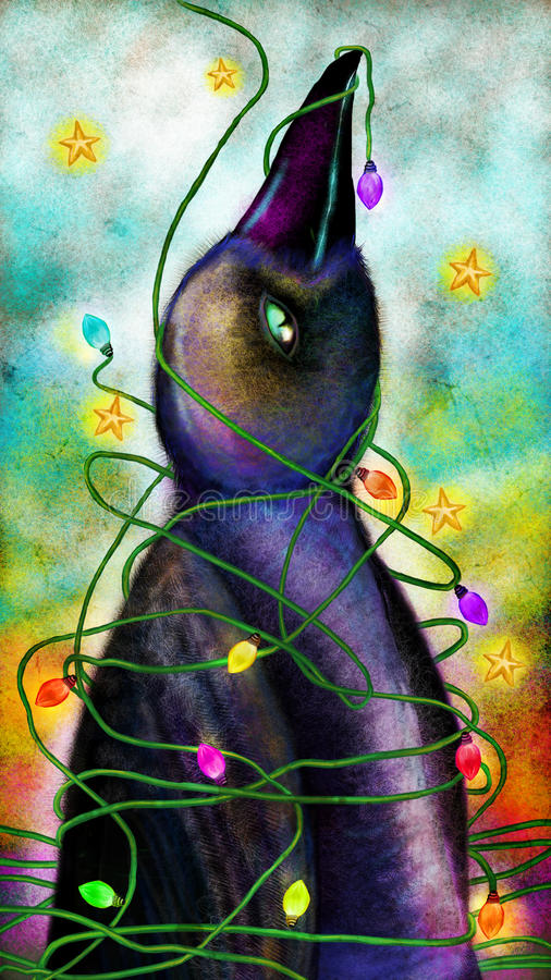 Bird wrapped in Christmas tree lights royalty free illustration