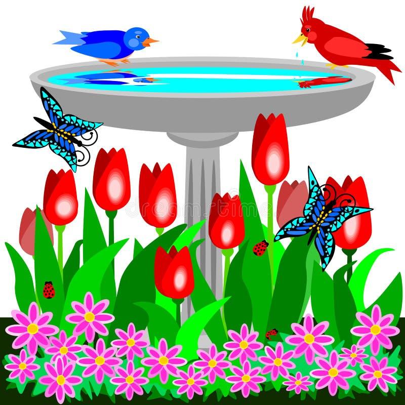 Download Birdbath and tulips stock vector. Image of ladybug, nature - 24358227