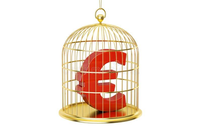 Birdcage com símbolo de moeda do Euro para dentro, rendição 3D ilustração royalty free