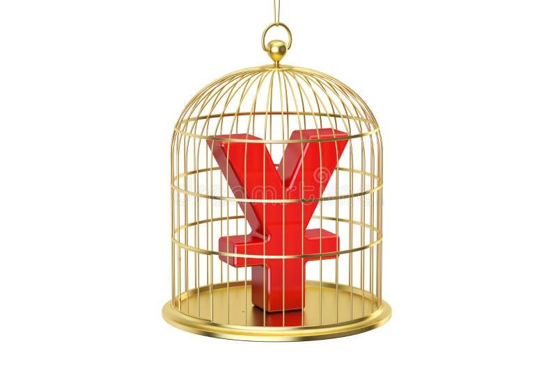 Birdcage com símbolo de moeda dos ienes ou do yuan para dentro, rendição 3D ilustração stock