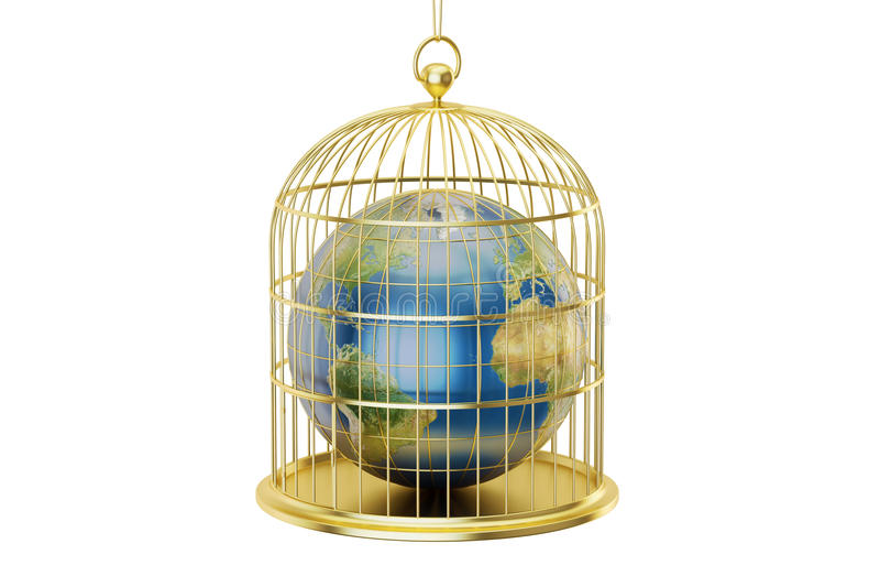 Birdcage con pianeta Terra bloccato dentro, rappresentazione 3D illustrazione vettoriale
