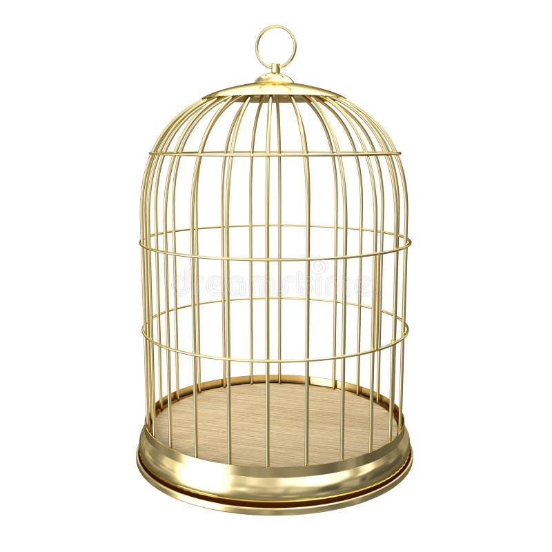 birdcage 3d dourado ilustração royalty free