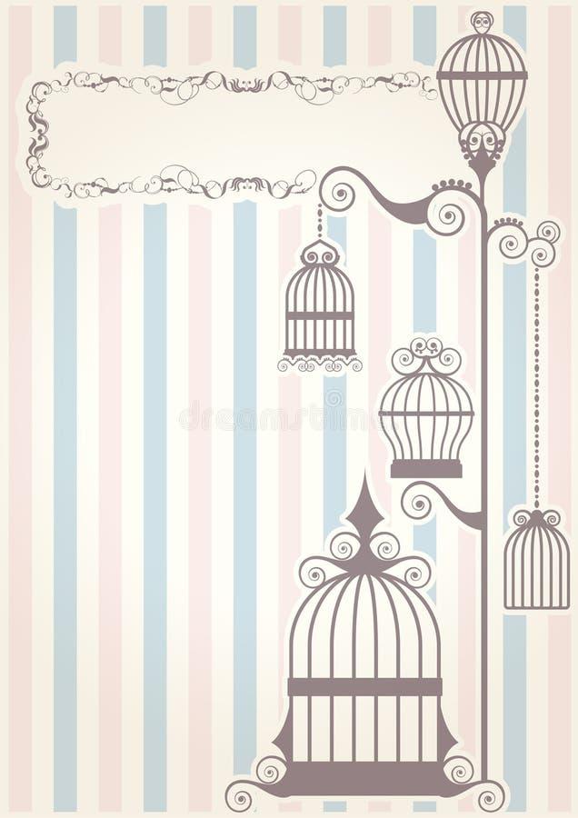 Birdcage do vintage da textura de Paisley ilustração royalty free