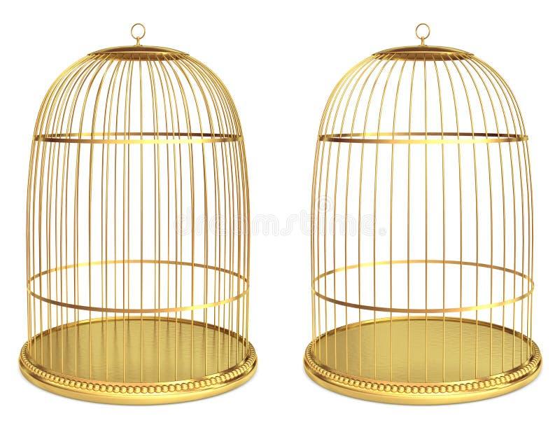 Birdcage dourado ilustração royalty free