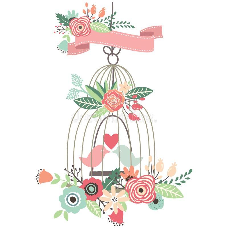Birdcage floral do casamento do vintage ilustração royalty free