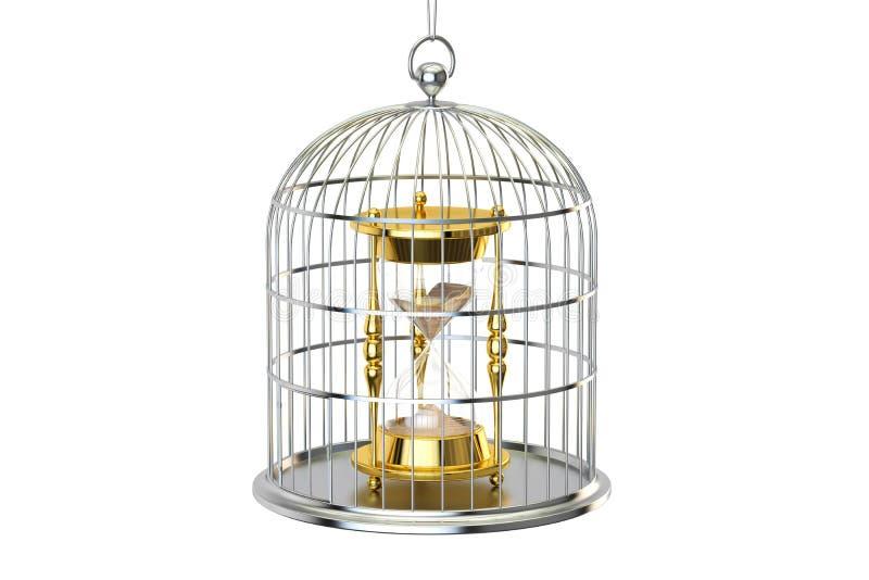 Birdcage mit Sanduhr nach innen, Wiedergabe 3D stock abbildung