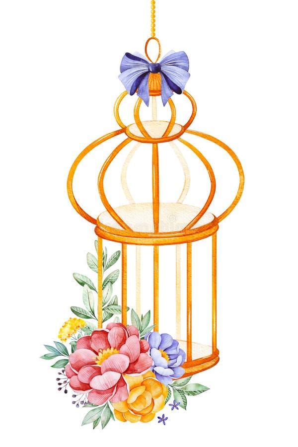 Birdcage romântico da aquarela com peônia, rosa, folhas, flores, ramos e curvas ilustração do vetor