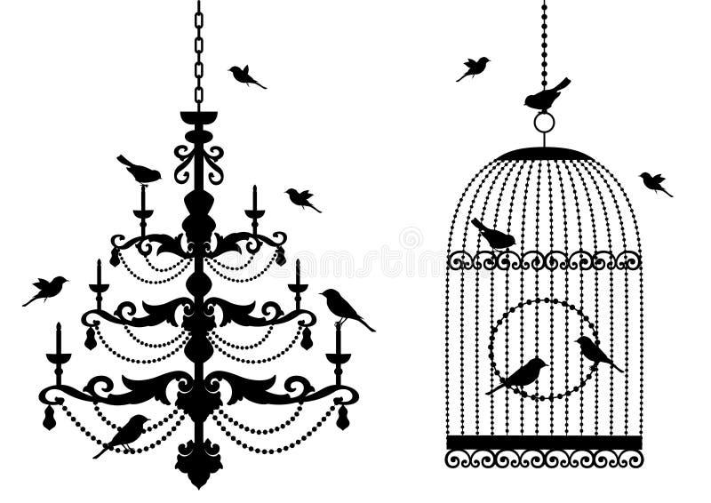 Birdcage und Leuchter mit Vögeln,   stock abbildung