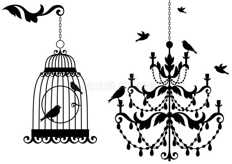 Birdcage y lámpara antiguos,   libre illustration