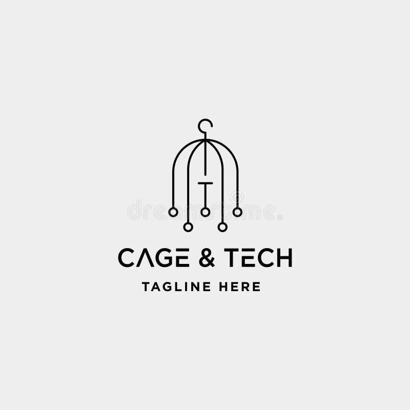 Birdcageinternet-Logoentwurfsvektor wifi Hausikone siymbol Zeichen vektor abbildung