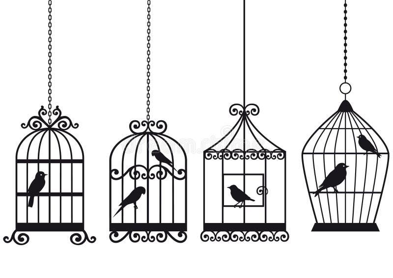 Birdcages dell'annata con gli uccelli illustrazione vettoriale