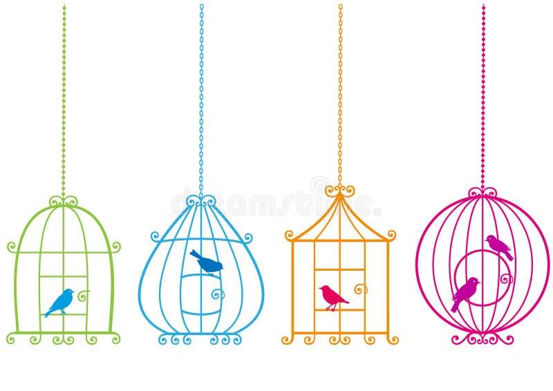 Birdcages encantadores com pássaros,   ilustração royalty free
