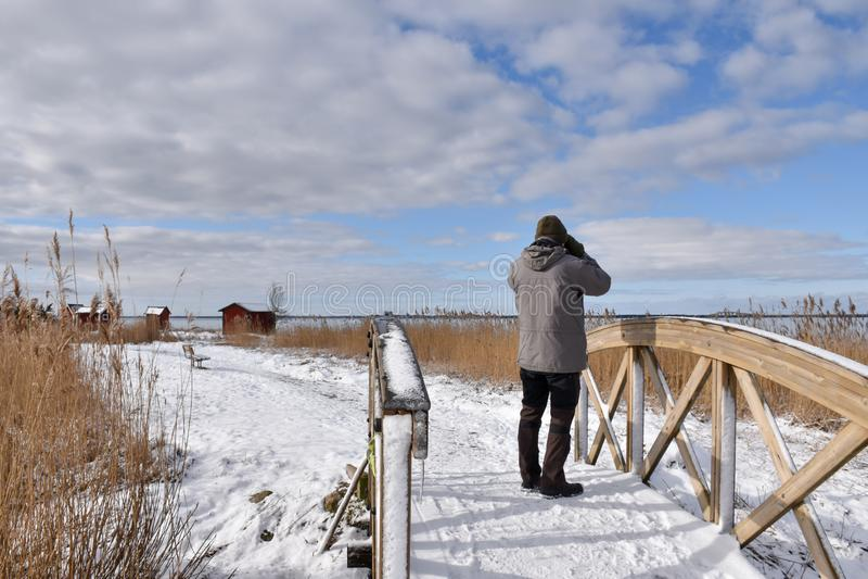 Birder en una pasarela de madera foto de archivo