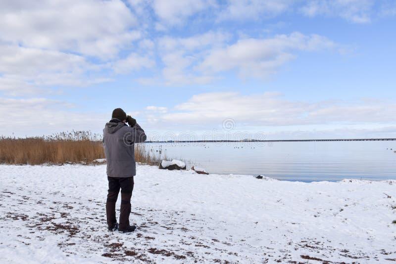 Birder por una costa en la estación del invierno foto de archivo