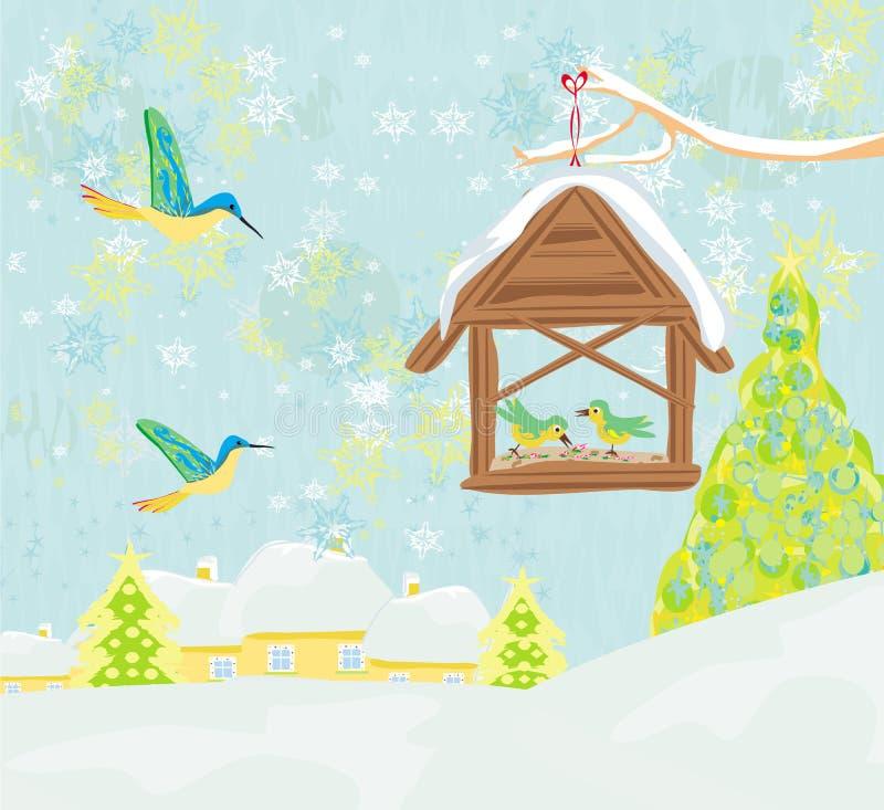 Birdfeeder im Winter vektor abbildung