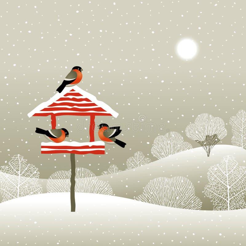 birdfeeder lasu zima ilustracji
