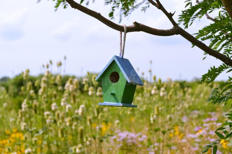 Birdhouse σε ένα δέντρο στοκ εικόνες