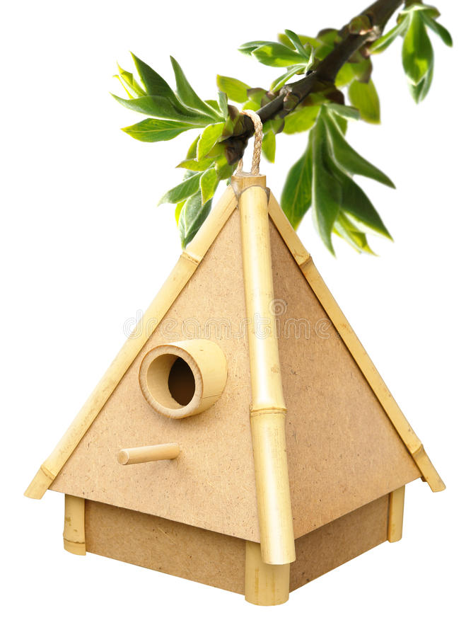 Birdhouse auf Sprig lizenzfreie stockfotos