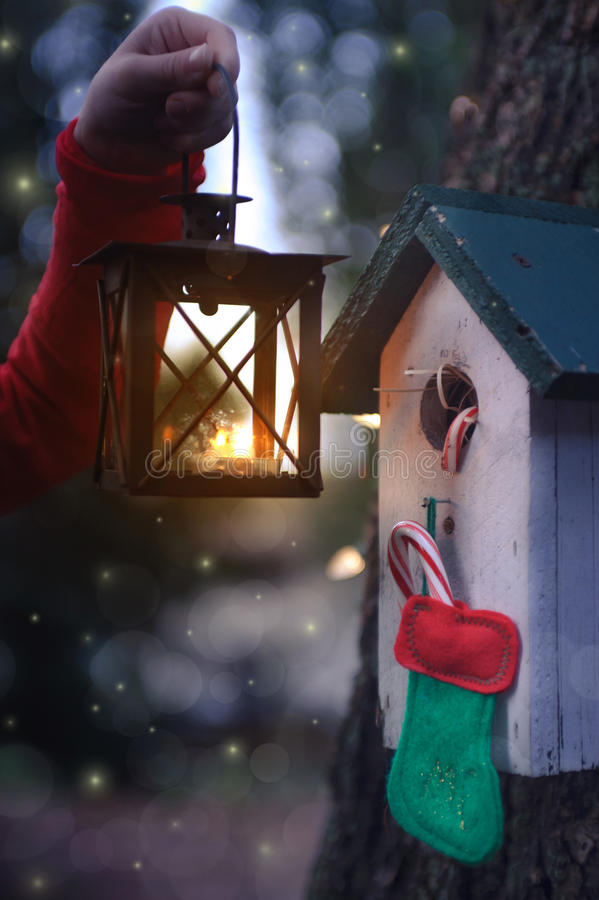 Birdhouse with christmas stocking decoration illuminated by lantern royalty free stock images