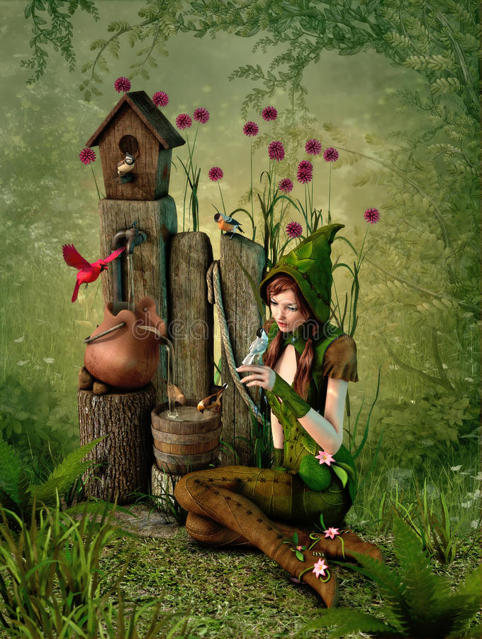 Birdhouse, 3d CG. 3d computer graphics of a girl with a bird on her hand