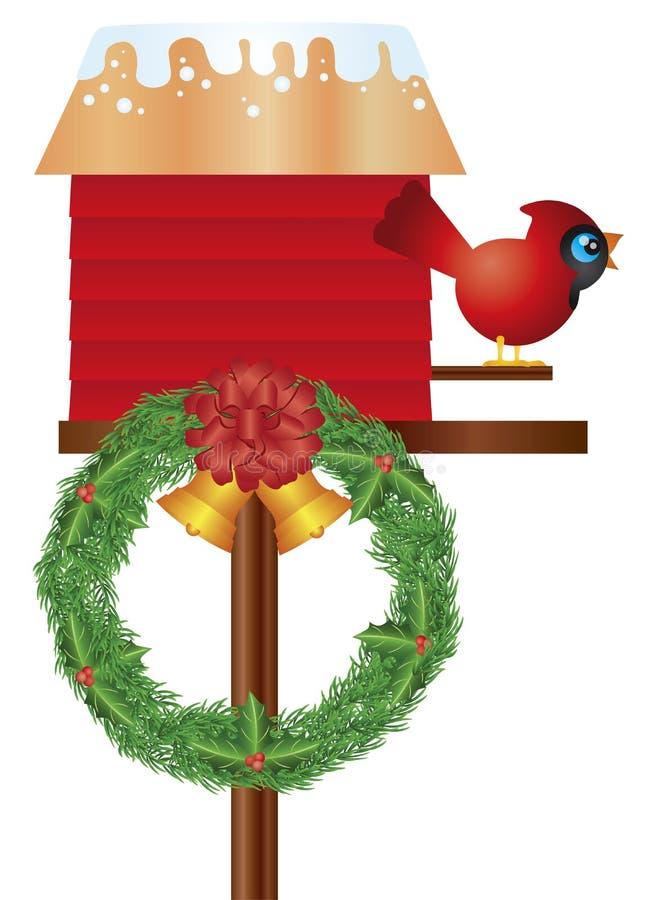 Birdhouse de la Navidad con el cardenal y la guirnalda stock de ilustración