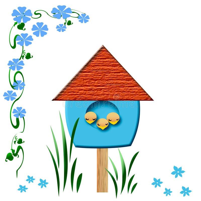 Birdhouse de los pájaros de bebé stock de ilustración