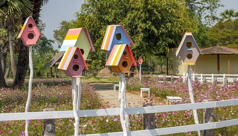 The birdhouse is made of wooden like a small residential house, painted beautifully, provided for a bird to make its nest in.  royalty free stock photo