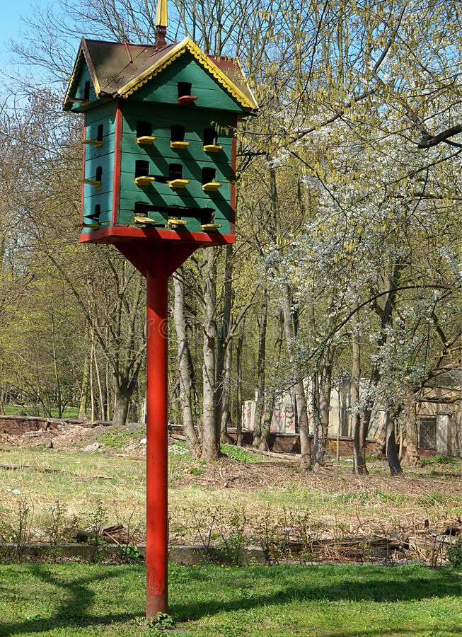 Birdhouse park. Big house for birds in the park Petrifying springs in Lodz stock photos