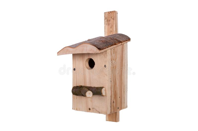 Birdhouse on a white background. Shed for birds on a white background royalty free stock image