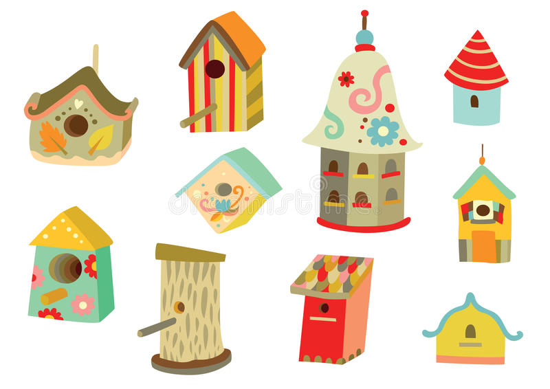 birdhouses stock illustrationer