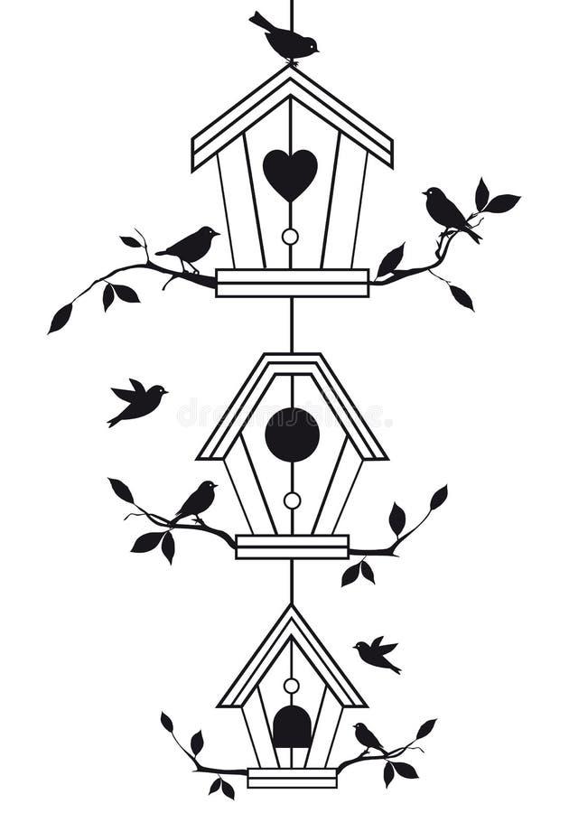 Birdhouses con las ramificaciones de árbol, vector libre illustration