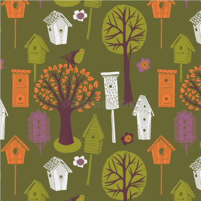 birdhouses drzewa barwioni ilustracyjni royalty ilustracja
