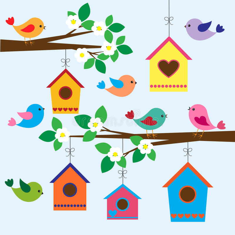 Birdhouses en resorte ilustración del vector