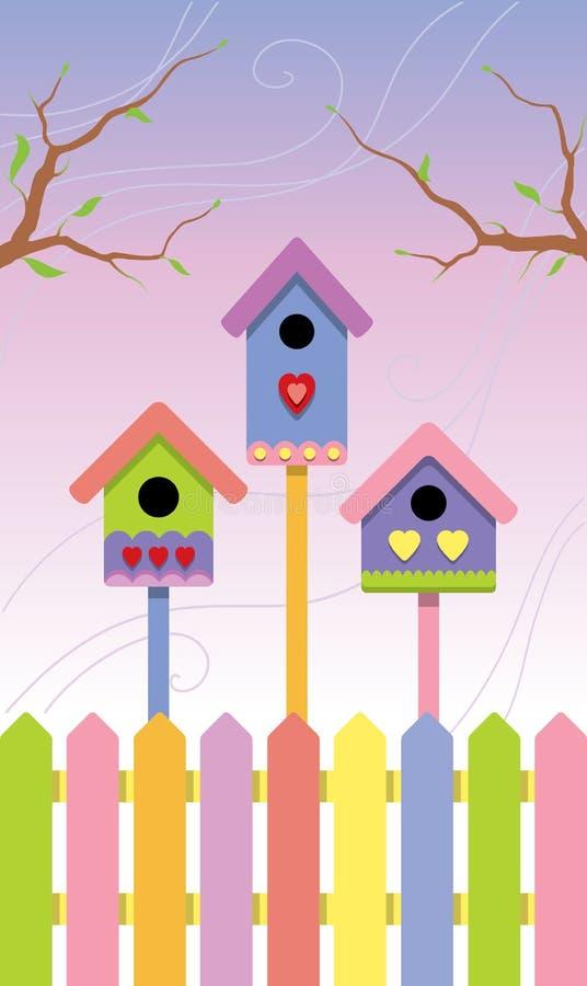 Birdhouses multicolores sur le fond de source illustration libre de droits