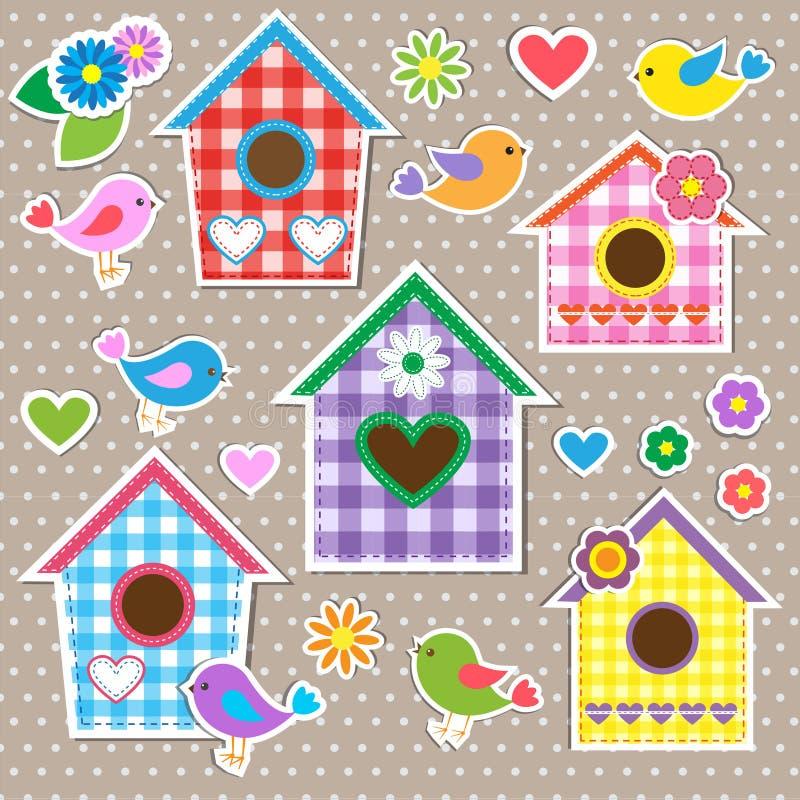 Birdhouses ptaki i kwiaty, ilustracja wektor