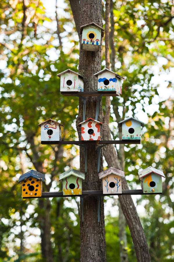 Birdhouses on a tree stock images