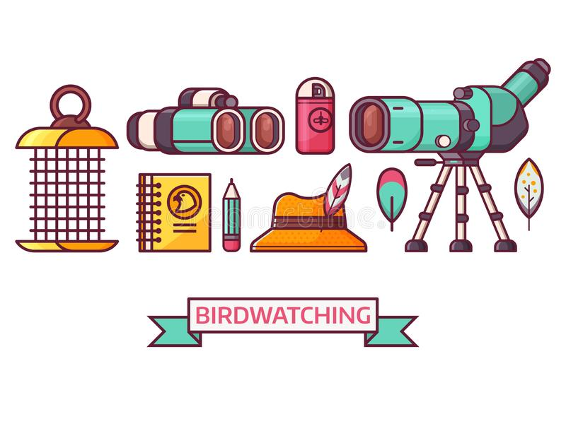Birding e iconos Birdwatching de la ornitología ilustración del vector