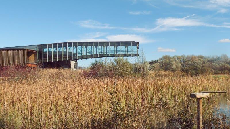 Birding-Observatorium-Gebäude-Naturpark lizenzfreie stockfotografie