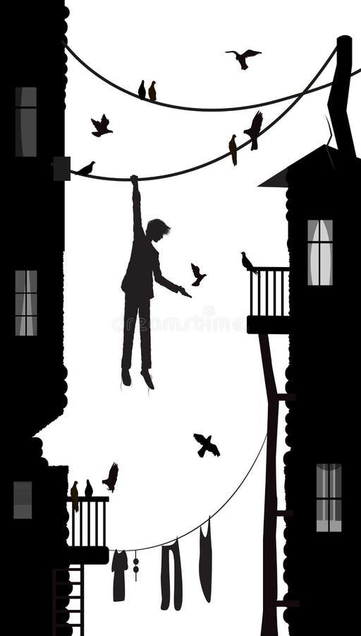 Birdman, ένωση αγοριών στο σχοινί στην πόλη με πολύ περιστέρι, χαρακτήρας πόλεων, γραπτή σκηνή, στοκ εικόνες