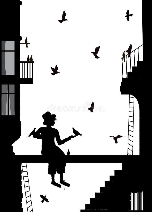 Birdman, αγόρι στην πόλη με πολύ περιστέρι, γραπτές μνήμες, απεικόνιση αποθεμάτων
