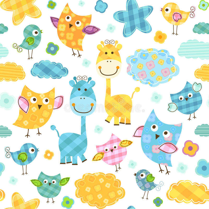 Free Birds And Giraffes Pattern Royalty Free Stock Photography - 28988567