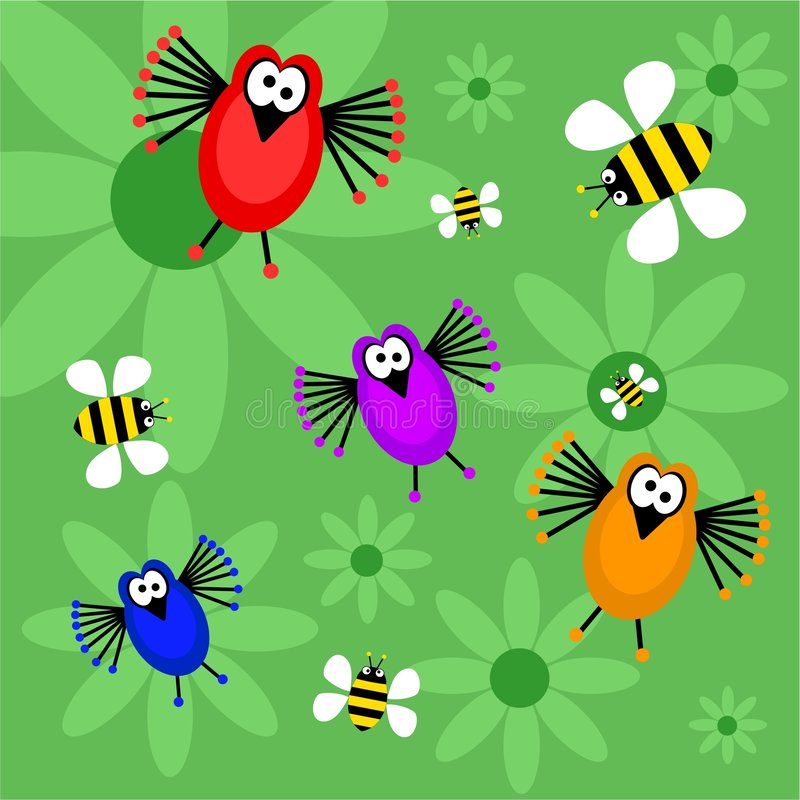 Birds and bees. Funky retro birds and bees background design