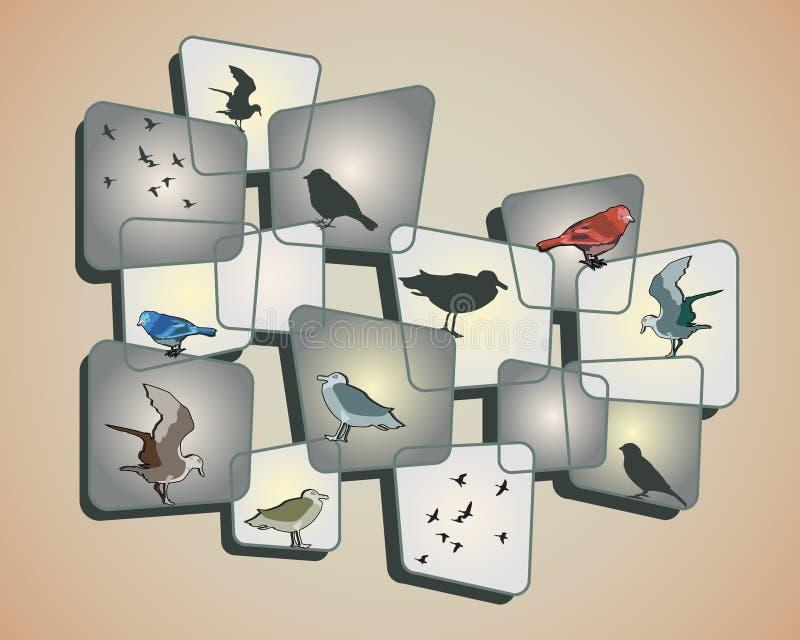 Birds on Beige. Birds and a design on a beige background vector illustration