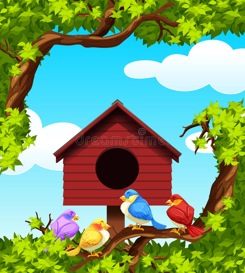 Birds and bird house on the tree royalty free illustration