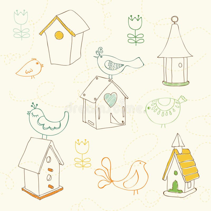 Download Birds And Bird Houses Doodles Stock Vector - Illustration: 22011851
