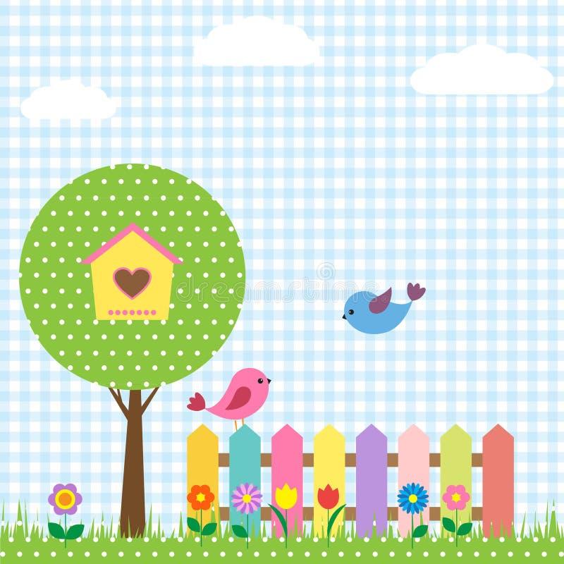 Birds and birdhouse royalty free illustration
