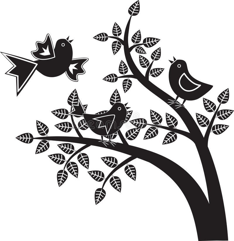 Birds black and white graphics vector illustration