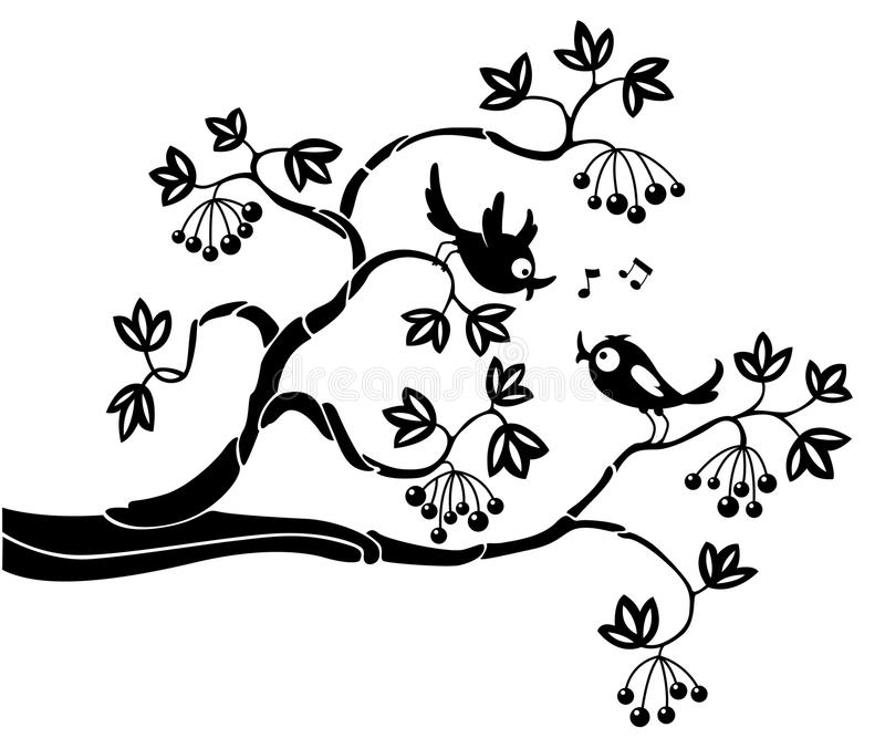 Download Birds on a branch stock vector. Image of illustration - 15708799